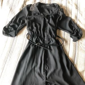 Black Tunic sheer with detailed beading on collar